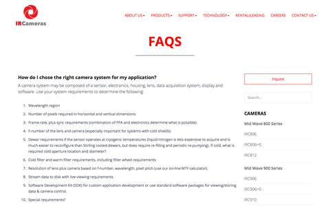 Screenshot of FAQ Page ircameras.com - FAQs - IR Cameras - captured July 25, 2018