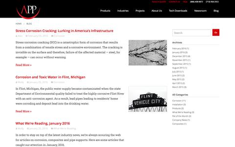 Screenshot of Blog appinc.co - Corrosion, Composites, Pipe Supports Blog | APP - captured Feb. 5, 2016