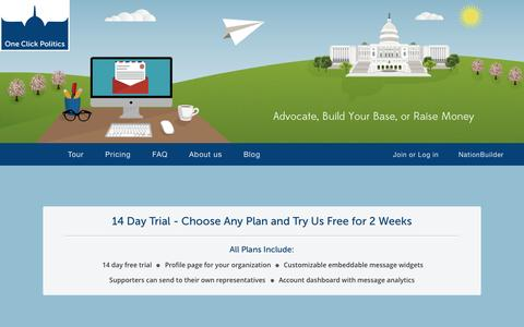 Screenshot of FAQ Page Pricing Page oneclickpolitics.com - Advocate, Build your Base, or Raise Money. - captured Sept. 19, 2014