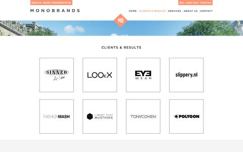 Screenshot of Case Studies Page Testimonials Page monobrands.nl - Clients & results - Monobrands - Online marketing & E-commerce partner - captured Oct. 26, 2014