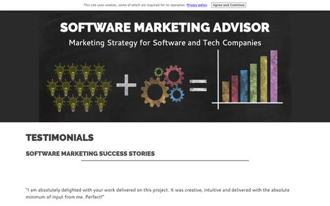 Screenshot of Testimonials Page software-marketing-advisor.com - Testimonials: Software Marketing Success Stories - captured Oct. 17, 2018