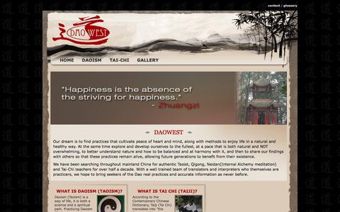 Screenshot of Home Page daowest-cultivation.com - Daoist,Tai Chi, Qigong, Meditation tours and workshops in China | Daowest - captured Feb. 8, 2016