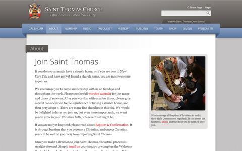 Screenshot of Signup Page saintthomaschurch.org - Join Saint Thomas | About | Saint Thomas Church - captured Oct. 4, 2014