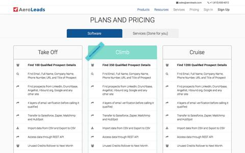 Screenshot of Pricing Page aeroleads.com - Plans and Pricing | AeroLeads - captured March 12, 2016