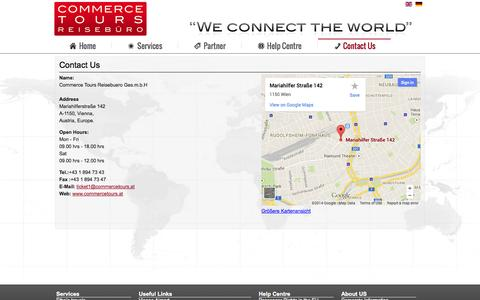 Screenshot of Contact Page commercetours.at - Contact Us - Commerce Tours Reisebüro - captured Oct. 2, 2014