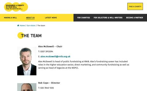 Screenshot of Team Page rememberacharity.org.uk - The team - Remember A Charity - captured Oct. 20, 2018