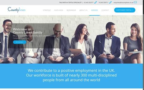 Screenshot of Jobs Page countylinen.co.uk - Careers – County Linen - captured Sept. 26, 2018