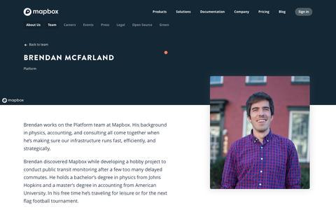 Screenshot of Team Page mapbox.com - Brendan McFarland   Mapbox - captured Feb. 19, 2019