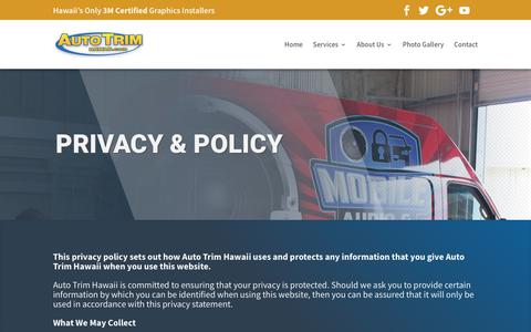 Screenshot of Privacy Page autotrimhawaii.com - Privacy Policy | Auto Trim Hawaii - captured July 31, 2018