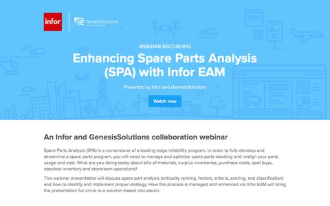 Screenshot of Landing Page infor.com - Enhancing Spare Parts Analysis (SPA) with Infor EAM - captured April 14, 2018