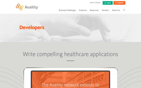 Screenshot of Developers Page availity.com - Software Solutions for Developers - Availity - captured April 11, 2018