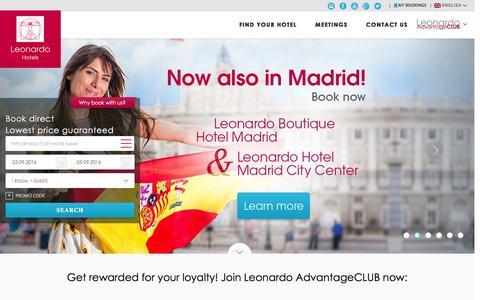 Screenshot of Home Page leonardo-hotels.com - Leonardo Hotels Group | Book direct for the lowest price guaranteed - captured Sept. 1, 2016