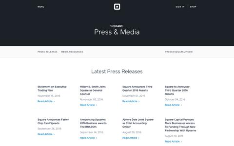 Screenshot of About Page Press Page squareup.com - Press & Media - captured Nov. 30, 2016