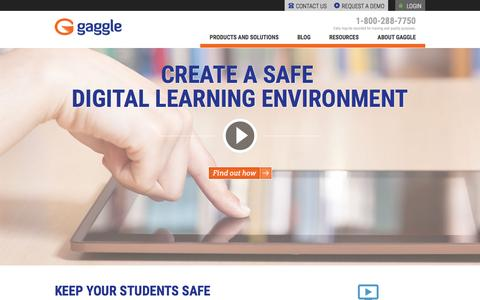 Screenshot of Home Page gaggle.net - Online Student Safety | K12 LMS |Google Apps for Education | Office 365 | Gaggle - captured Oct. 23, 2015