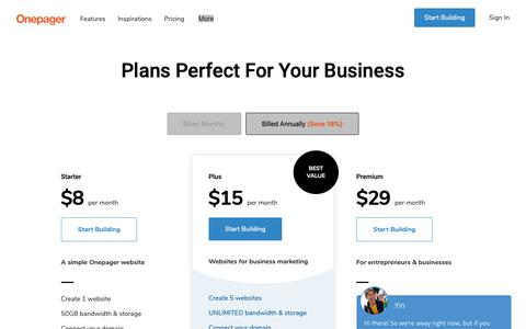 Screenshot of Pricing Page onepagerapp.com - Compare Website Builder Plans and Pricing - Onepager - Start For Free - captured May 18, 2019