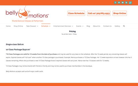 Screenshot of Pricing Page bellymotions.com - Dance Class Pricing | Belly Motions - captured June 1, 2017