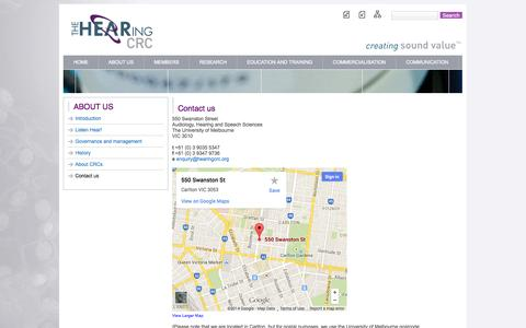 Screenshot of Contact Page hearingcrc.org - Contact us    HEARing CRC - captured Sept. 27, 2014