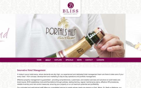 Screenshot of About Page bliss-hospitality.com - Bliss Hospitality Group - Official Site - captured Oct. 5, 2014