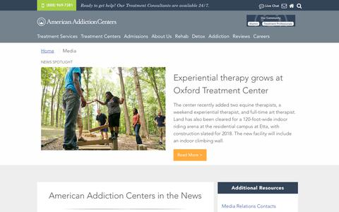 Screenshot of Press Page americanaddictioncenters.org - Media, Press Releases and Interview Requests | American Addiction Centers - captured Jan. 23, 2018