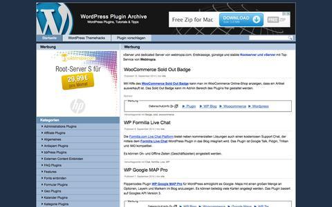Screenshot of Home Page wp-plugin-archive.de - WordPress Plugin Archive - captured Sept. 19, 2014