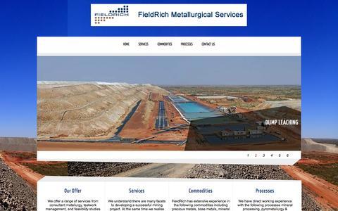 Screenshot of Home Page fieldrich.com.au - Fieldrich Metallurgical Services - captured Oct. 5, 2014