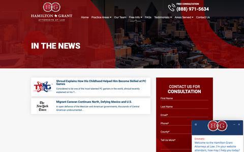 Screenshot of Press Page attorneyhamilton.com - In The News - Hamilton Grant PC - captured Dec. 14, 2018