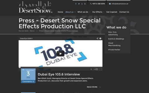 Screenshot of Press Page desertsnow.ae - Press - Desert Snow Special Effects Production LLC - captured Sept. 30, 2014
