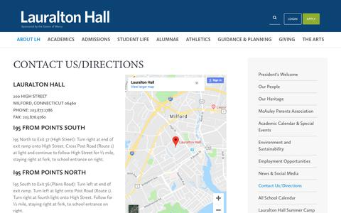 Screenshot of Contact Page Maps & Directions Page lauraltonhall.org - Contact Us/Directions - Lauralton Hall School - captured Oct. 2, 2018