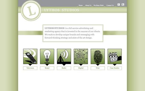 Screenshot of Home Page lythos.com - Lythos Studios | Advertising and Marketing Agency | Richmond, Virginia - captured Oct. 3, 2014
