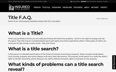 Screenshot of FAQ Page insured-title.com - Title F.A.Q.   Title Company Tampa   Insured Title Agency - captured Oct. 12, 2018
