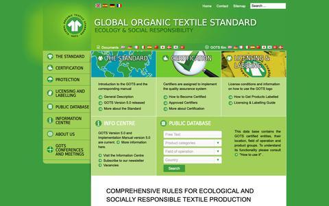 Screenshot of Home Page global-standard.org - Global Organic Textile Standard International Working Group (IWG) - Global Standard gGmbH - captured Sept. 30, 2018
