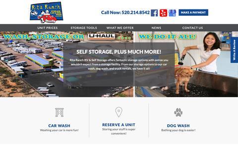 Screenshot of Home Page ritaranch.net - Storage Units in Tucson, AZ | Rita Ranch RV & Self Storage - captured Oct. 18, 2018