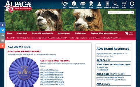 Screenshot of Press Page alpacainfo.com - AOA Brand Guide, Advertising, and Logos - captured Nov. 21, 2018