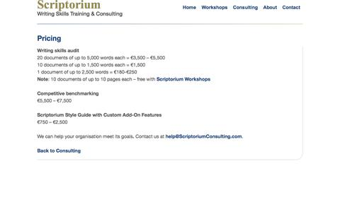 Screenshot of Pricing Page scriptoriumconsulting.com - Pricing | Scriptorium |  Writing Skills Training & Consulting - captured Oct. 27, 2014