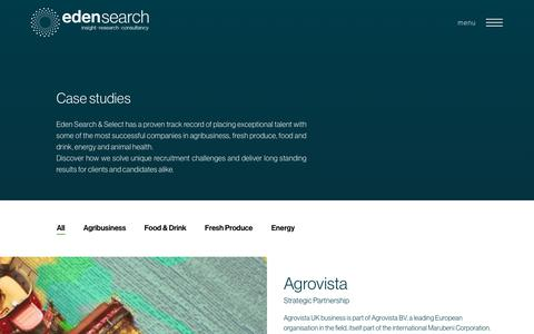 Screenshot of Case Studies Page edensearch.co.uk - Case Studies | Recruitment | Agribusiness | Food & Drink | Fresh Produce - captured Aug. 2, 2019