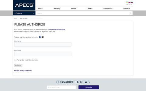 Screenshot of Login Page apecs.co.uk - APECS - captured Oct. 3, 2018
