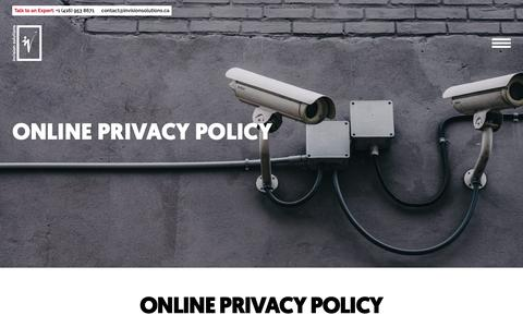 Screenshot of Privacy Page invisionsolutions.ca - Online Privacy Policy - Invision Solutions - captured Oct. 12, 2018