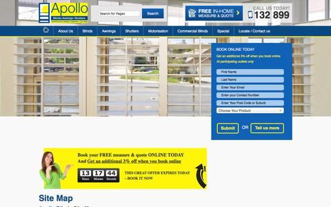 Screenshot of Site Map Page apolloblinds.com.au - Site Map: main categories of the Apollo Blinds website - captured Feb. 6, 2016