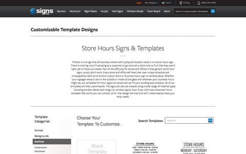 Screenshot of Hours Page signs.com - Store Hours Signs & Templates | Signs.com - captured Sept. 19, 2014