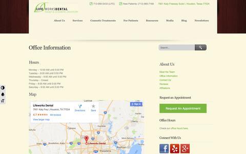 Screenshot of Maps & Directions Page lifeworksdental.com - Lifeworks Dental | Memorial Area Dentist | Cosmetic Dentist Memorial Area | Lifeworks Dental - captured May 19, 2017