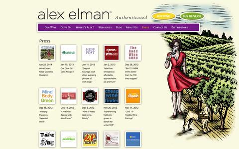 Screenshot of Press Page aewines.com - Alex Elman > Organic Wine, Organic Food, Olive Oil, Wine, New York City, Alex Elman - captured Oct. 9, 2014