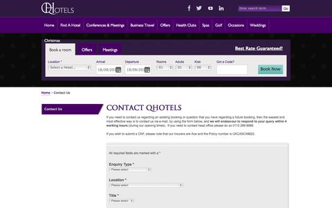 Screenshot of Contact Page qhotels.co.uk - Contact Us with any queries - QHotels - captured Sept. 19, 2014