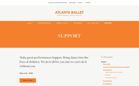 Screenshot of Support Page atlantaballet.com - Support | Atlanta Ballet - captured May 31, 2017