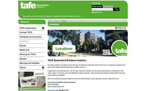 Screenshot of Locations Page tafebrisbane.edu.au - Locations - TAFE Queensland Brisbane - captured Nov. 22, 2016