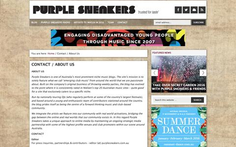 Screenshot of Contact Page purplesneakers.com.au - Contact / About Us - Purple Sneakers - captured Feb. 2, 2016