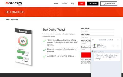 Screenshot of Signup Page dialers.com - Get Started - Dialers.com - captured Nov. 1, 2018