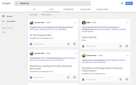 Screenshot of Team Page google.com - Search Results - Google+ - captured Feb. 11, 2018