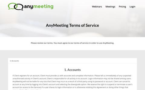 Screenshot of Terms Page anymeeting.com - Terms of Service | AnyMeeting - captured Oct. 16, 2016