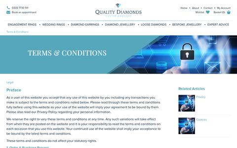 Screenshot of Terms Page qualitydiamonds.co.uk - Quality Diamonds - Terms and Conditions - captured July 19, 2018