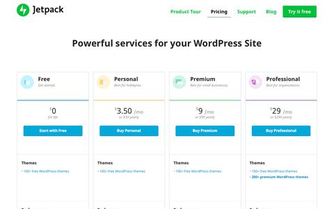 Screenshot of Pricing Page jetpack.com - Powerful Services for your WordPress Site - captured Sept. 20, 2018